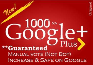 provide 1000 google +1 to your site for 