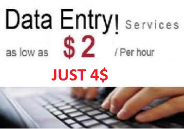 do any data entry work 2 hours for