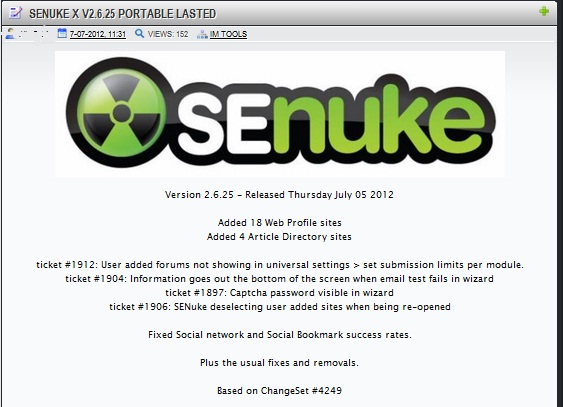 send you my working copy of SenukeX 2.6 25 so that you can blast your own site over and over again and dominate your competition