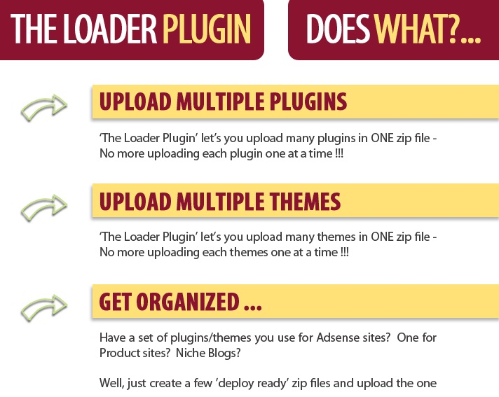 give you The Loader Plugin to upload multiple plugins & themes in one time