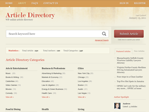 make a article directory with wordpress