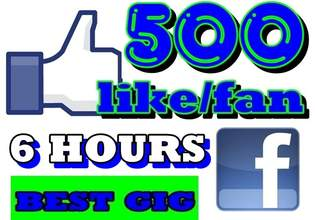 send 1500+ facebook like/fan to your fanpage in 6 to 12 hours,no need admin