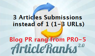 submit 3 Spun Articles to ArticleRanks with 3 URLs giving you 180 to 450 Juicy Backlinks from PR0 to PR5 Blogs Dripping over Several Weeks