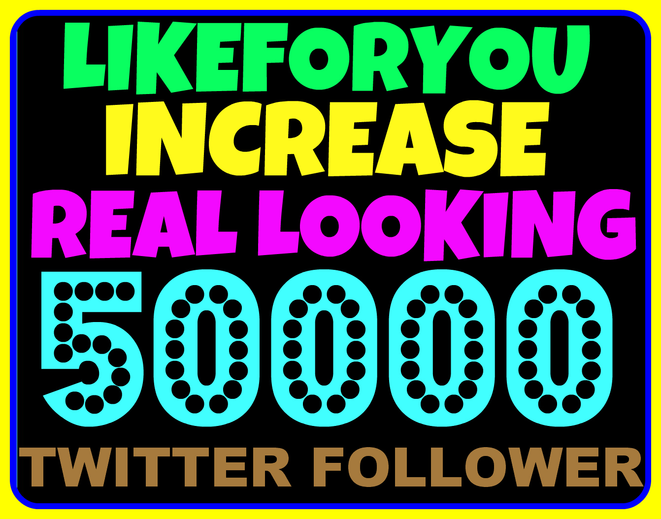 Increase 50,000 Real Looking Twitter Followers to Your Account Just Within 12hr Without Password