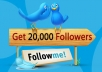 Add 20K+ HIGH QUALITY TWITTER FOLLOWERS in your account to high rated your profile (split available)