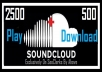 Boost Your SoundCloud PLAYS By Additional 2500 Plays + 500 downloads In Your Single Track
