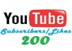 give Guaranteed 200+ VERIFIED Youtube Subscribers
