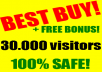 I will send you at least 30.000 visitors to your website +FREE BONUS only