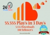 add Soundcloud 55,555 plays, 5,555 downloads and 100 followers, up to 5 tracks!!!!!!!