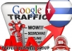 I send 1000 visitors via Google.com.cu by Keyword to your website