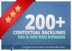 create 200+ high PR contextual backlinks from 100 gov and edu wiki domains@!@