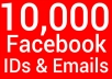 I will scrape 10000 Facebook ID and Email from any fanpage