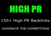 create MANUALLY 150+ High PR Backlinks For You PR1+ Above