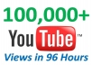 give You 100,000+ Very Urgent YOUTUBE Views In 96 Hours