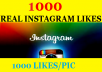 Deliver 1200+ REAL instagram Pic likes Instantly