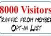 send 8000 visitors to your website or URL