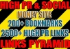 make powerful link PYRAMID with 200 social bookmarks as safe first layer and over 2500 high pr backlinks blast to energize them