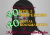 build MANUALLY a Link Wheel on 40 Web2 + 40 Social Bookmarking + 10,000 Verified Blog Comments on Them
