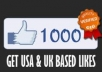 give you Facebook fans or likes, 1000++ USA to Any Fan page