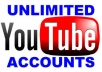 Create provide 100 New YOUTUBE Accounts for you