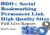 create 500 Social BOOKMARKING Pr 0 to Pr 8 Sites Within 24 Hours, Report Of All Live Social Bookmark Links, Best Social BOOKMARKs service