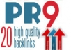 create you 20  PR9 backlinks from 20 different PR 9 high authority sites [ DoFollow, Anchor Text, Panda Penguin Frindly ] + pinging 