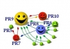 manually create High PageRank Backlnks from PR10 to PR7 domains on Twitter, Facebook, LinkedIn, MySpace and Pinterest, plus report