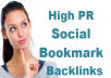 create 20 Social Bookmark Backlinks from high pr4 to pr9
