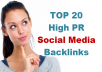 create Social media backlinks from top 20 web 2, social networks and social media sites
