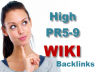 60 Wiki backlinks from high pr5 to pr9 websites, including some Edu