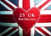 do UK based directory submission from 25 dot co dot uk directory website for your website home page 