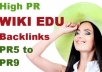 create 33 Backlinks on 11 unique High PR5 to PR9 Wiki EDU Sites