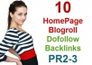 provide 10 Homepage blogroll backlinks from 10 different domains with pr2 pr3 low obl for a month