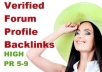 create 22 Backlinks from High PR5 to PR9 Verified Forum Profiles