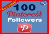 give you 100% real 100 pinterest followers