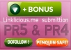 manually build 4 x PR5 and 6 x PR4 dofollow High Quality backlinks with anchor text on actual PR5 and PR4 page + submitt them to linklicious