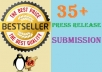 submit your Press release to 35+ High PR Press Release websites manually ★ Google Penguin Safe ★ High authority Quality sites