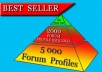 Create a 2-Tier 7,000 Backlinks Pyramid w/ 5,000 Forum Profiles Pointing to 2,000 Anchor Text Profiles Linking to your Site