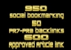 do 950 Social Bookmarking 50 PR7 to PR3 Profile backlinks 600 Approved article submission all round social marketing