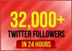 add 32,000+ real looking twitter followers to your account in less than 24 hours