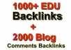 give you 1000+ EDU Baclinks + 2020 General Blog comments + Ping