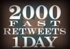 deliver 2000 RETWEETS + 2000 favorites and promote it to 400,000 followers within 12 hours