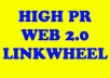 create powerful LINKWHEEL using 35 High Pr web 2 properties and then create 5000 backlinks on them, boost your rankings in any search engine within 4 days