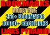 make powerful link PYRAMID with 250 social bookmarks as first layer and over 10000 blast as second layer | Bulk urls / keys welcome 