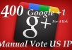 manually add 100 GOOGLE plus +1 votes for 4 url 100 votes per each