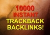 submit 10100 trackbacks for your website with Anchor text withing 24 hours and full report
