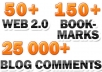 create ULTIMATE Linkwheel with over 50 web 2 properties + over 150 Social Bookmarks and 25 000 blog comments