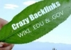 create 200 HIGH PR contextual GOV and EDU WIKI backlinks