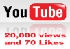 give you 20,000+ youtube views plus 30 likes, 20 subscribers and 10 favorites in 48 hours 