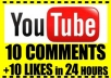 give you 10 custom comments and 10 likes on your youtube videos